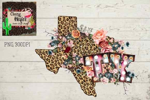 Print on Demand: Texas TX Letters Marquee Leopard Boho Graphic Illustrations By Crazy Heifer Design Shoppe