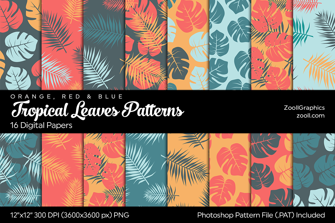 Download Free Tropical Leaves Digital Papers Graphic By Zoollgraphics for Cricut Explore, Silhouette and other cutting machines.