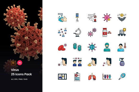 Virus Transmission Icons Pack Graphic Icons By StringLabs