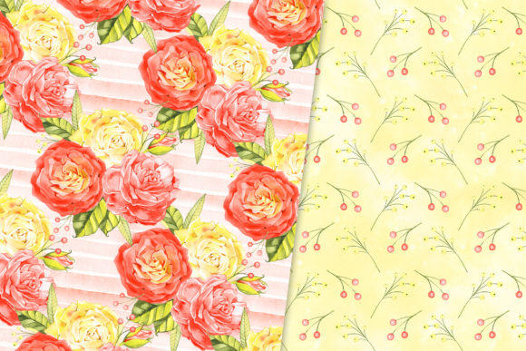 Download Free Watercolor Roses Digital Paper Pack Graphic By Natalimyastore Creative Fabrica for Cricut Explore, Silhouette and other cutting machines.