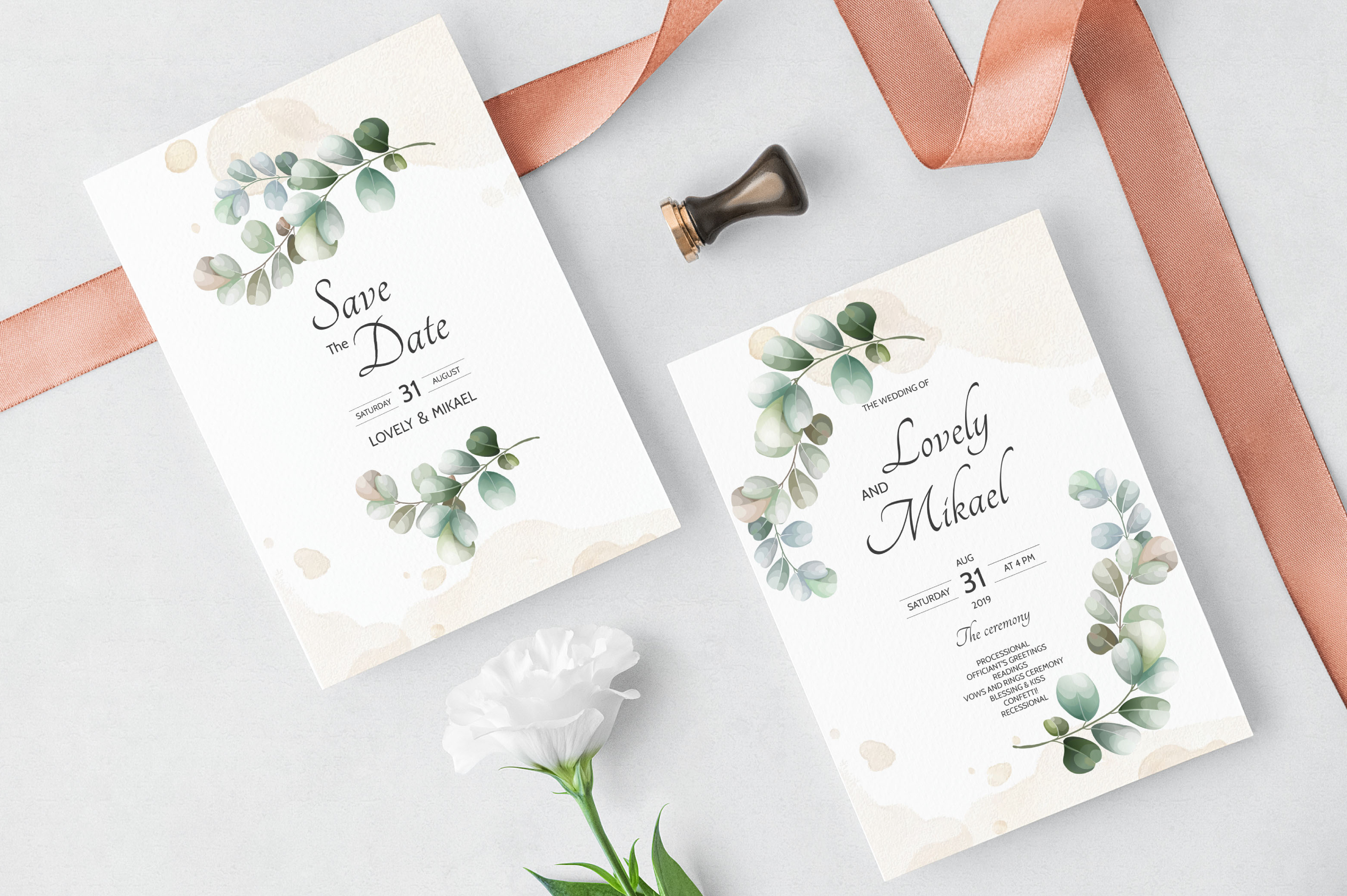 Download Free Wedding Invitation Card With Eucalyptus Graphic By Dinomikael01 for Cricut Explore, Silhouette and other cutting machines.
