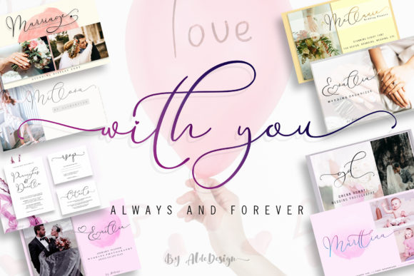 Print on Demand: With You Script & Handwritten Font By aldedesign