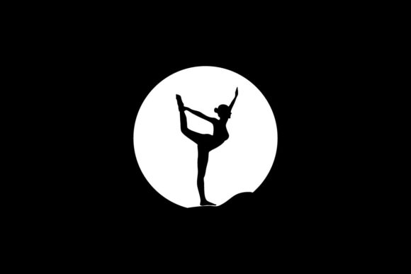 Yoga or Pilates in the Moon Graphic Logos By artpray