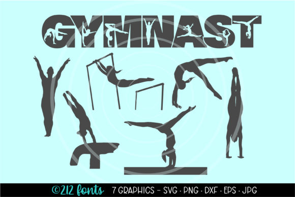 Download Free 7 Gymnast Gymnastics Clip Art Graphics Graphic By 212 Fonts for Cricut Explore, Silhouette and other cutting machines.