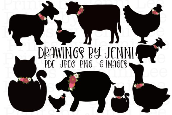 Animal Silhouette Clipart Set Graphic Illustrations By DrawingsbyJenni