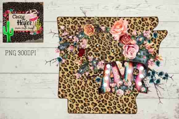 Print on Demand: Arkansas AR Letters Marquee Leopard Graphic Illustrations By Crazy Heifer Design Shoppe