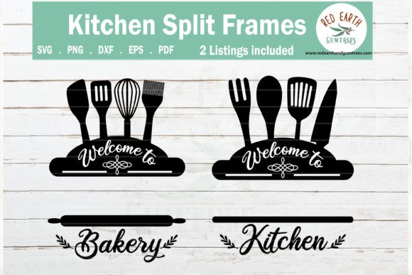 Baking and Kitchen Split Monogram   Graphic Crafts By redearth and gumtrees