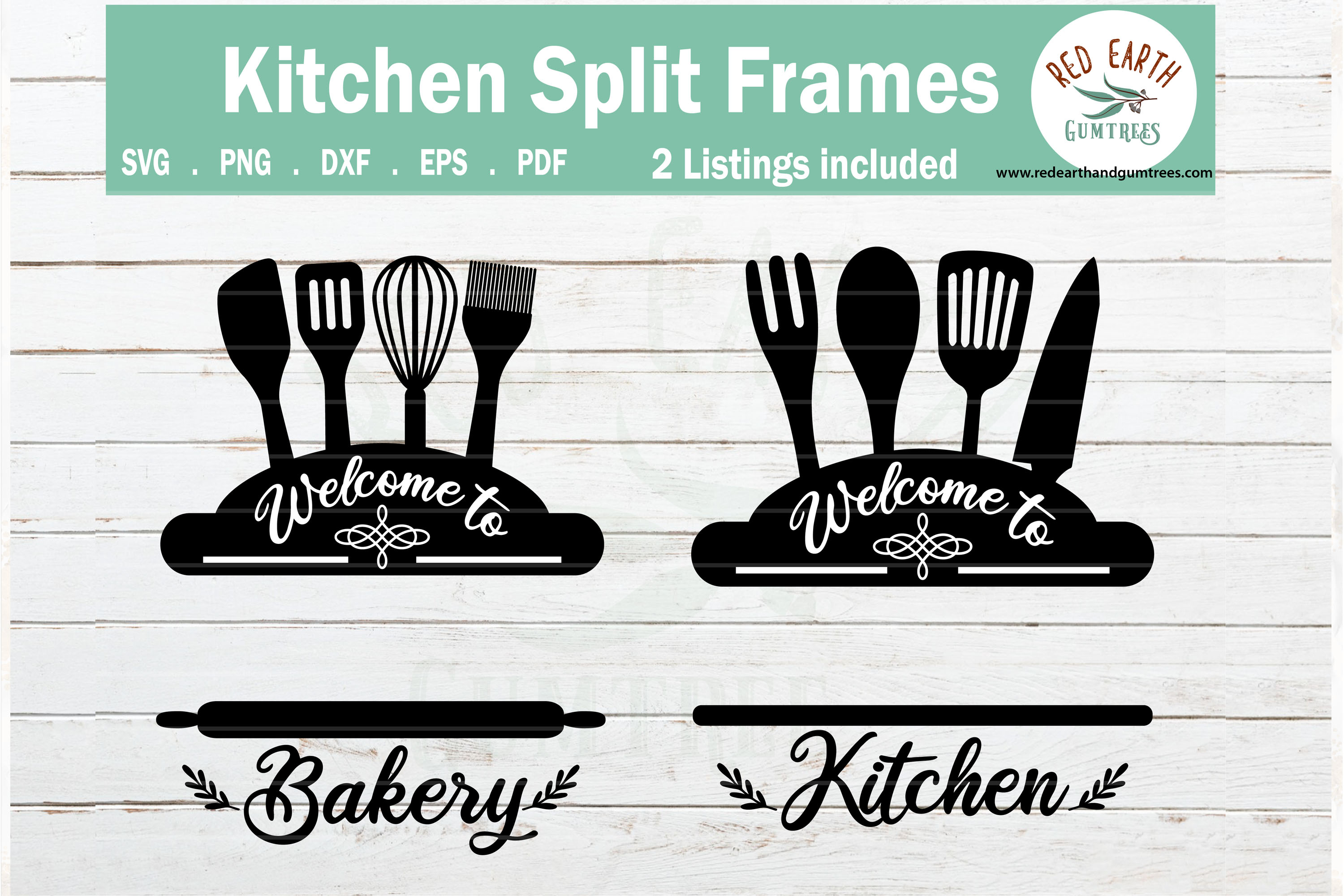 Download Free Baking And Kitchen Split Monogram Graphic By Redearth And for Cricut Explore, Silhouette and other cutting machines.