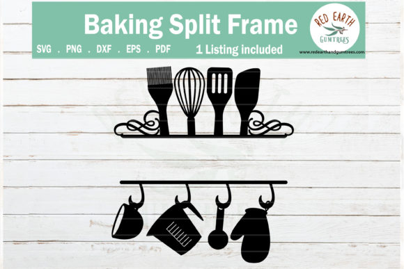 Download Free Baking Kitchen Split Monogram Frame Graphic By Redearth And for Cricut Explore, Silhouette and other cutting machines.