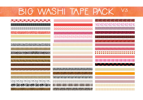 Print on Demand: Big Pack Washi Tape   V3 Graphic Print Templates By CapeAirForce