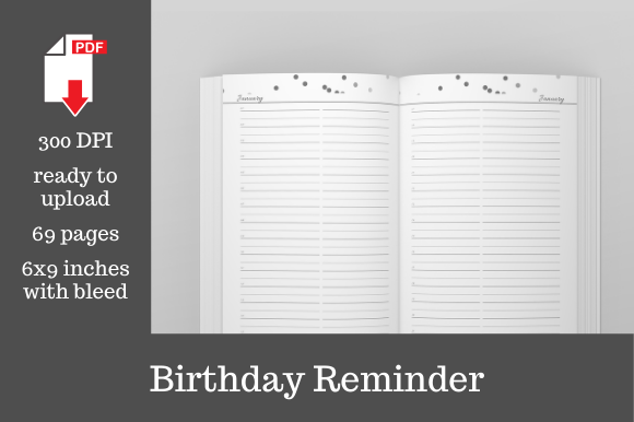 Print on Demand: Birthday Reminder • Confetti • 6x9 Graphic KDP Interiors By KDP Template Designs