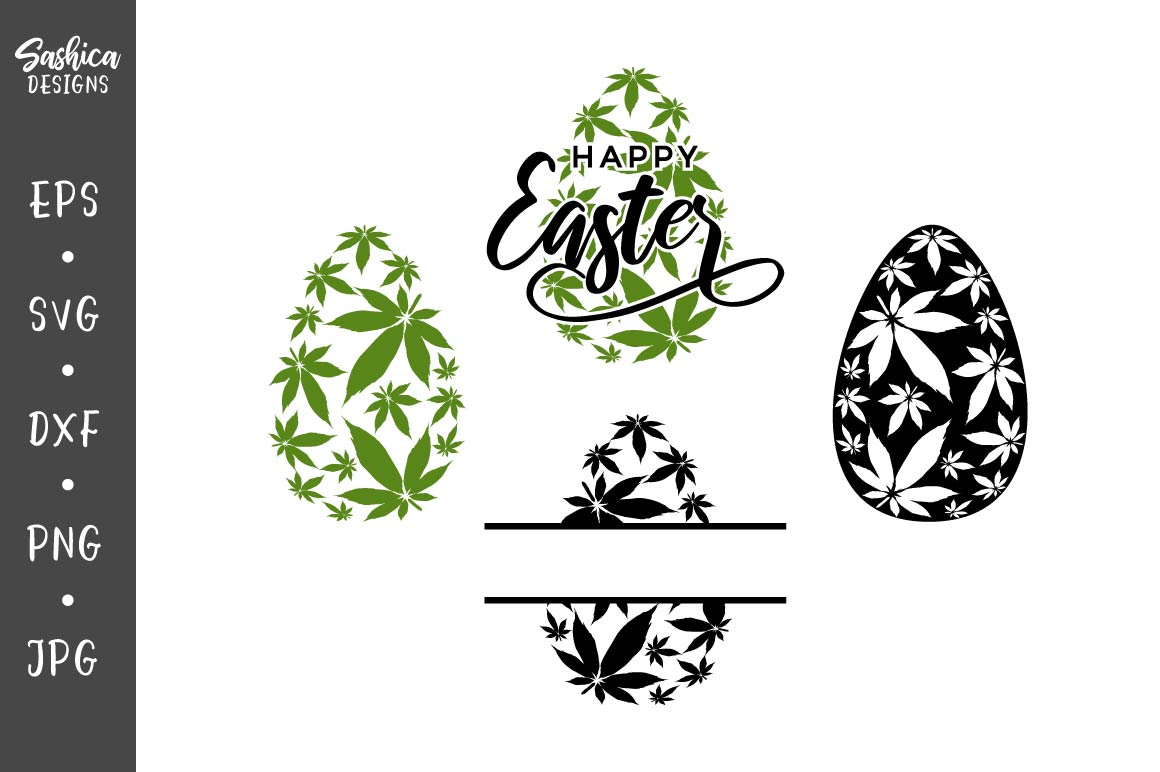 Download Free Easter Eggs With Marijuana Leaves Graphic By Sashica Designs for Cricut Explore, Silhouette and other cutting machines.