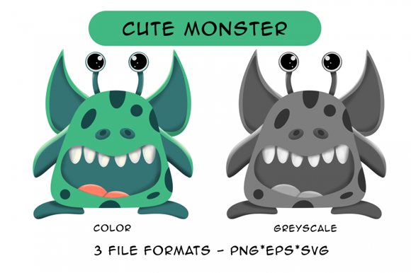 Print on Demand: Cute Green Monster Graphic Graphic Illustrations By Designs By David