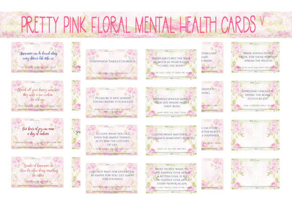 Print on Demand: Dainty Pink Floral MH Wellness Cards V2 Graphic Print Templates By CapeAirForce