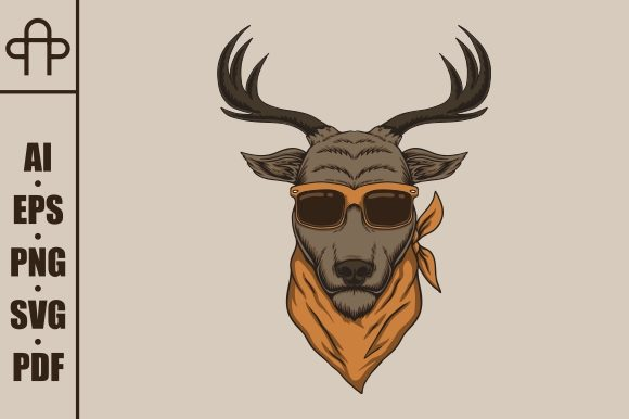 Download Free Deer Head Eyeglasses Vector Illustration Graphic By Andypp for Cricut Explore, Silhouette and other cutting machines.