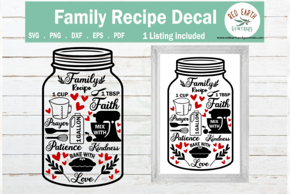 Family Recipe Kitchen Sign Making   Gráfico Crafts Por redearth and gumtrees