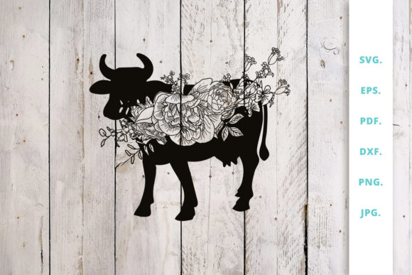 Download Free Floral Cow Animal Farm Graphic By Sintegra Creative Fabrica for Cricut Explore, Silhouette and other cutting machines.