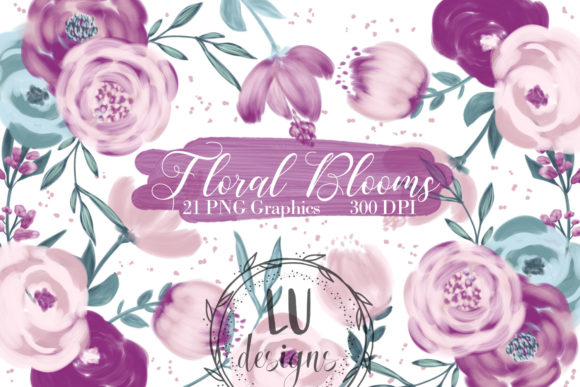 Download Free Flowers Clipart Burgundy Floral Graphic Graphic By Lu Designs for Cricut Explore, Silhouette and other cutting machines.