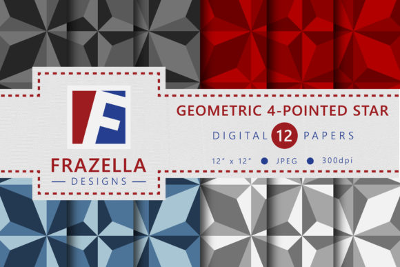 Download Free Geometric 4 Pointed Star Pattern Set Graphic By Frazella Designs for Cricut Explore, Silhouette and other cutting machines.
