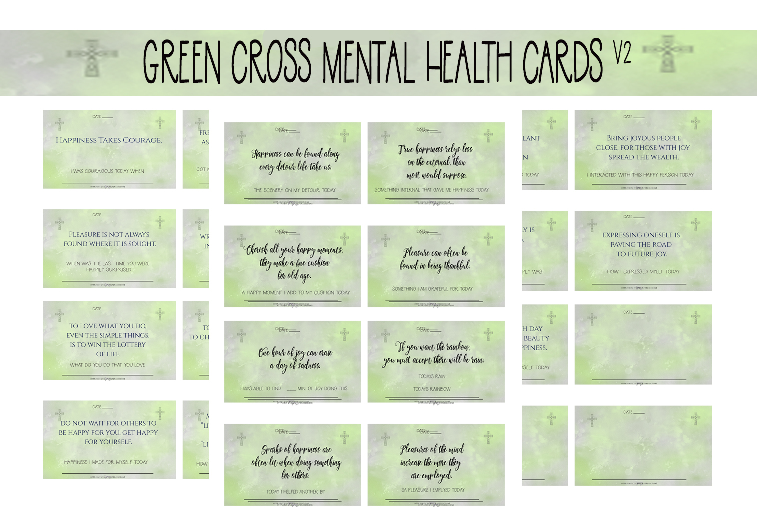 Download Free Green Cross Mental Health Wellness Cards Graphic By Capeairforce for Cricut Explore, Silhouette and other cutting machines.