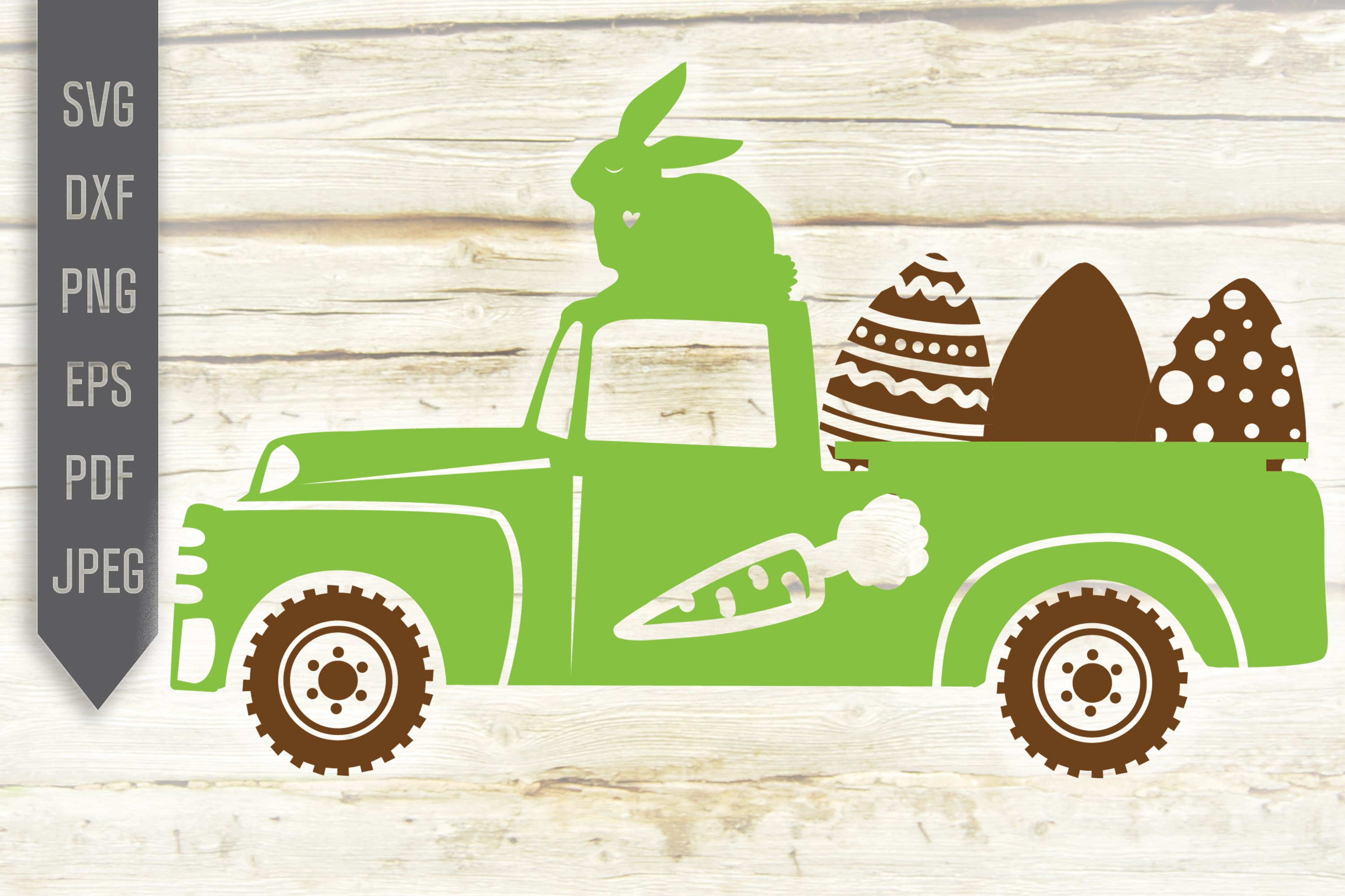 Download Free Green Easter Egg Truck Easter Bunny Graphic By Svglaboratory for Cricut Explore, Silhouette and other cutting machines.