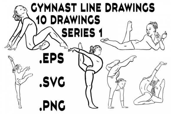 Download Free Gymnastics Gymnast Line Drawings Graphic By Designs By David for Cricut Explore, Silhouette and other cutting machines.