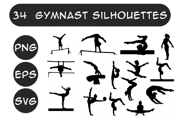 Download Free Gymnastics Silhouettes Gymnasts Graphic By Designs By David for Cricut Explore, Silhouette and other cutting machines.
