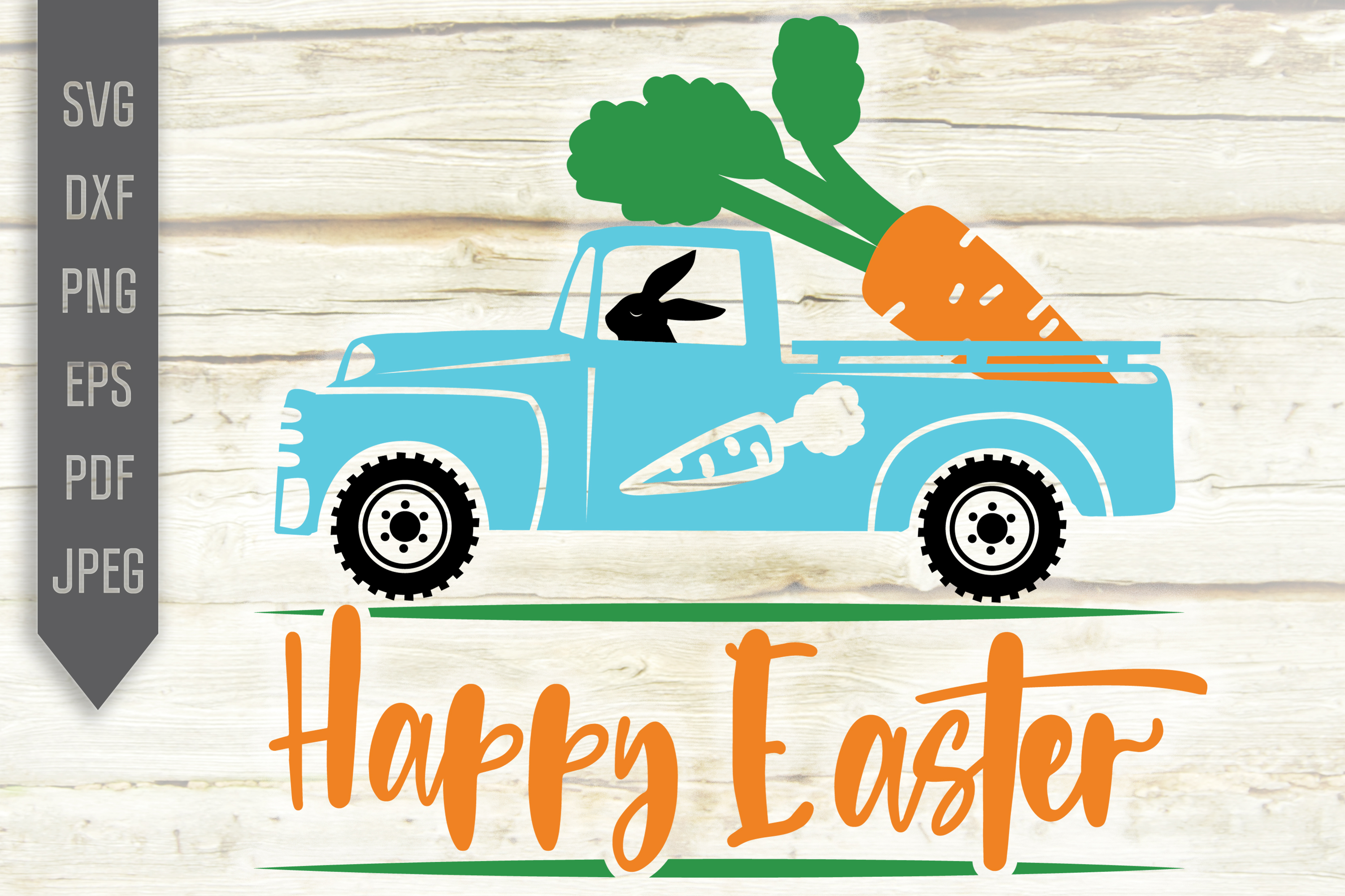 Download Free Happy Easter Blue Truck With Carrots Graphic By Svglaboratory SVG Cut Files