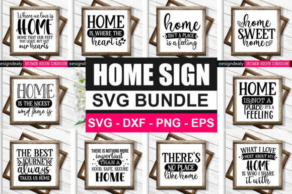 Print on Demand: Home Sign Bundle Graphic Print Templates By Designdealy.com