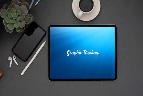 Download Free Ipad Mockup On The Table Graphic By Knou Creative Fabrica for Cricut Explore, Silhouette and other cutting machines.