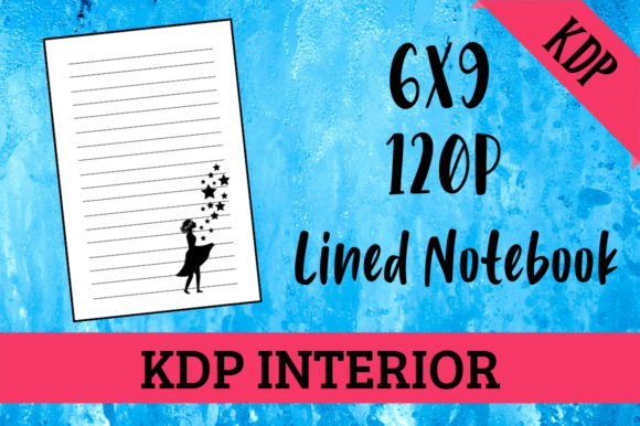 Print on Demand: Lined Notebook with Girl - KDP Interior Graphic KDP Interiors By Hungry Puppy Studio