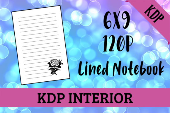 Print on Demand: Lined Notebook with Rose | KDP Interior Graphic KDP Interiors By Hungry Puppy Studio