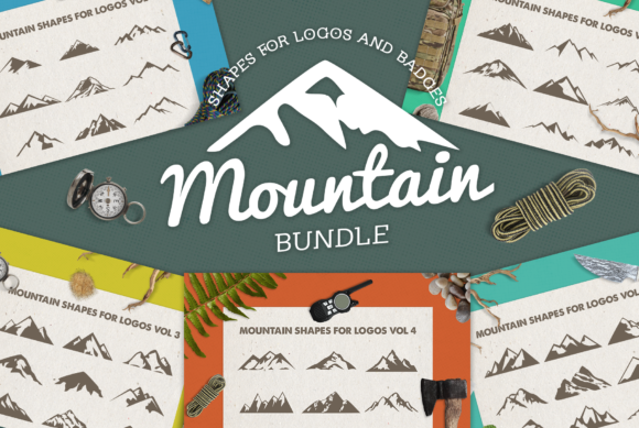 Print on Demand: Mountain Shapes Bundle Graphic Logos By LovePowerDesigns