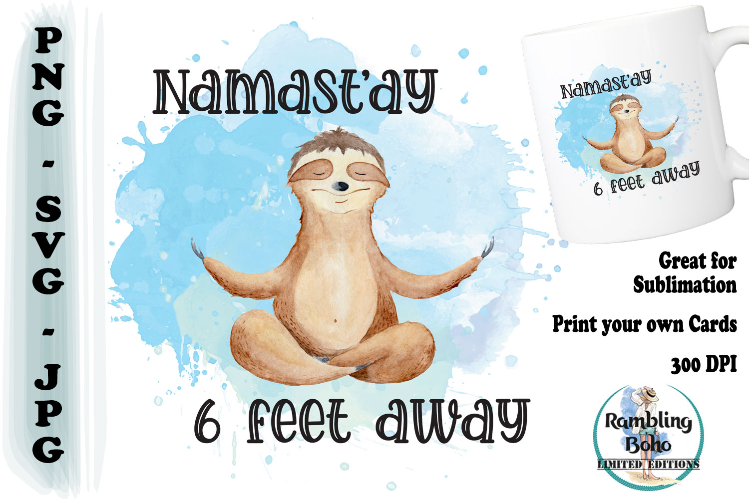 Download Free Namast Ay 6 Feet Away Graphic By Ramblingboho Creative Fabrica for Cricut Explore, Silhouette and other cutting machines.
