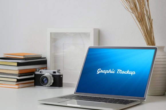 Notebook Mockup with Book and Camera Graphic Graphic Templates By knou