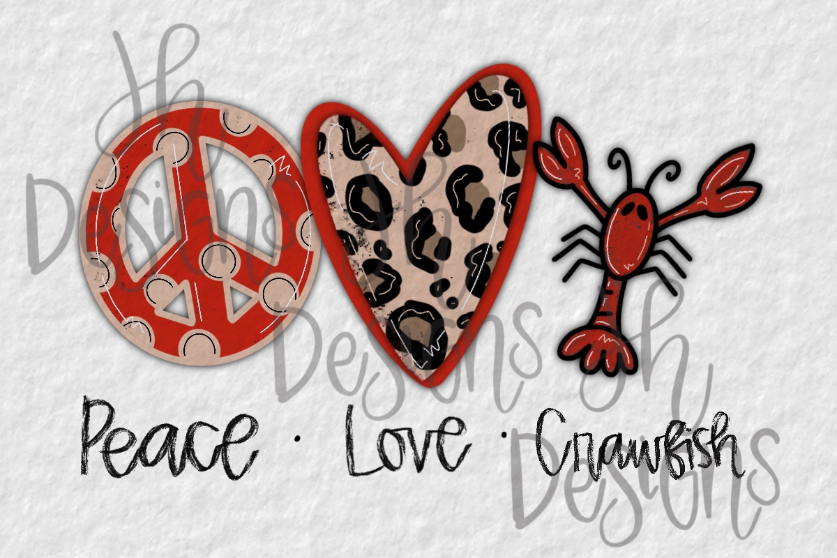 Download Free Peace Love Crawfish Graphic By Jh Designs Creative Fabrica for Cricut Explore, Silhouette and other cutting machines.