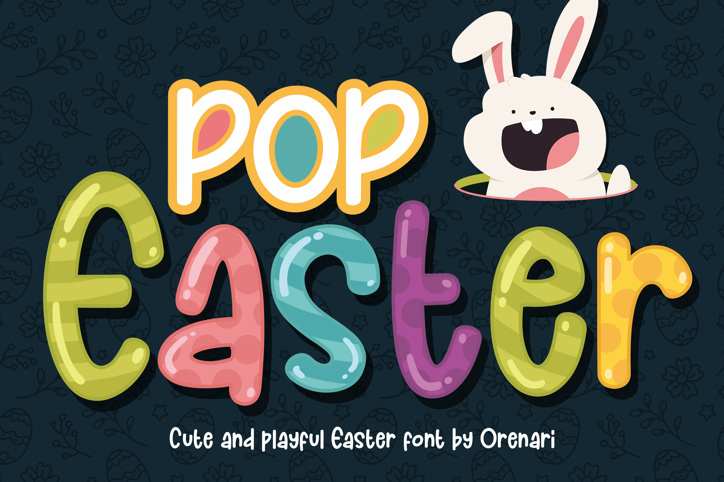 Download Free Pop Easter Font By Orenari Creative Fabrica for Cricut Explore, Silhouette and other cutting machines.