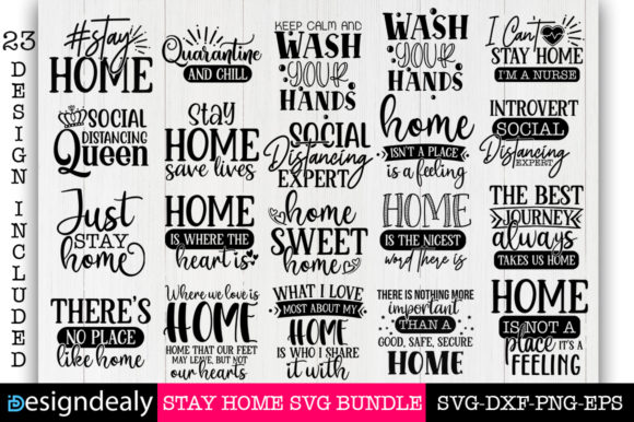 Print on Demand: Stay Home Bundle Gráfico Plantillas para Impresión Por Designdealy.com