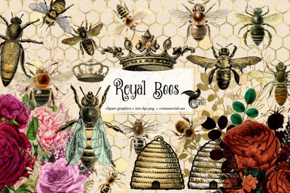 Print on Demand: Royal Bees Clipart Graphic Illustrations By Digital Curio