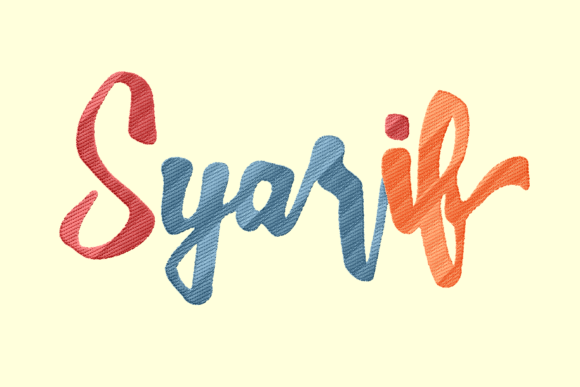 Syarif Lettering Family Quotes Embroidery Design By Daffasyarif