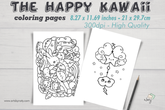 Print on Demand: The Happy Kawaii Coloring Pages. Graphic Coloring Pages & Books By artsbynaty