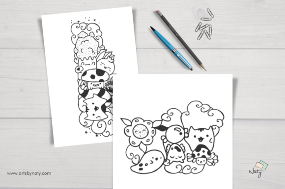 Download Free The Happy Kawaii Coloring Pages Grafico Por Artsbynaty for Cricut Explore, Silhouette and other cutting machines.