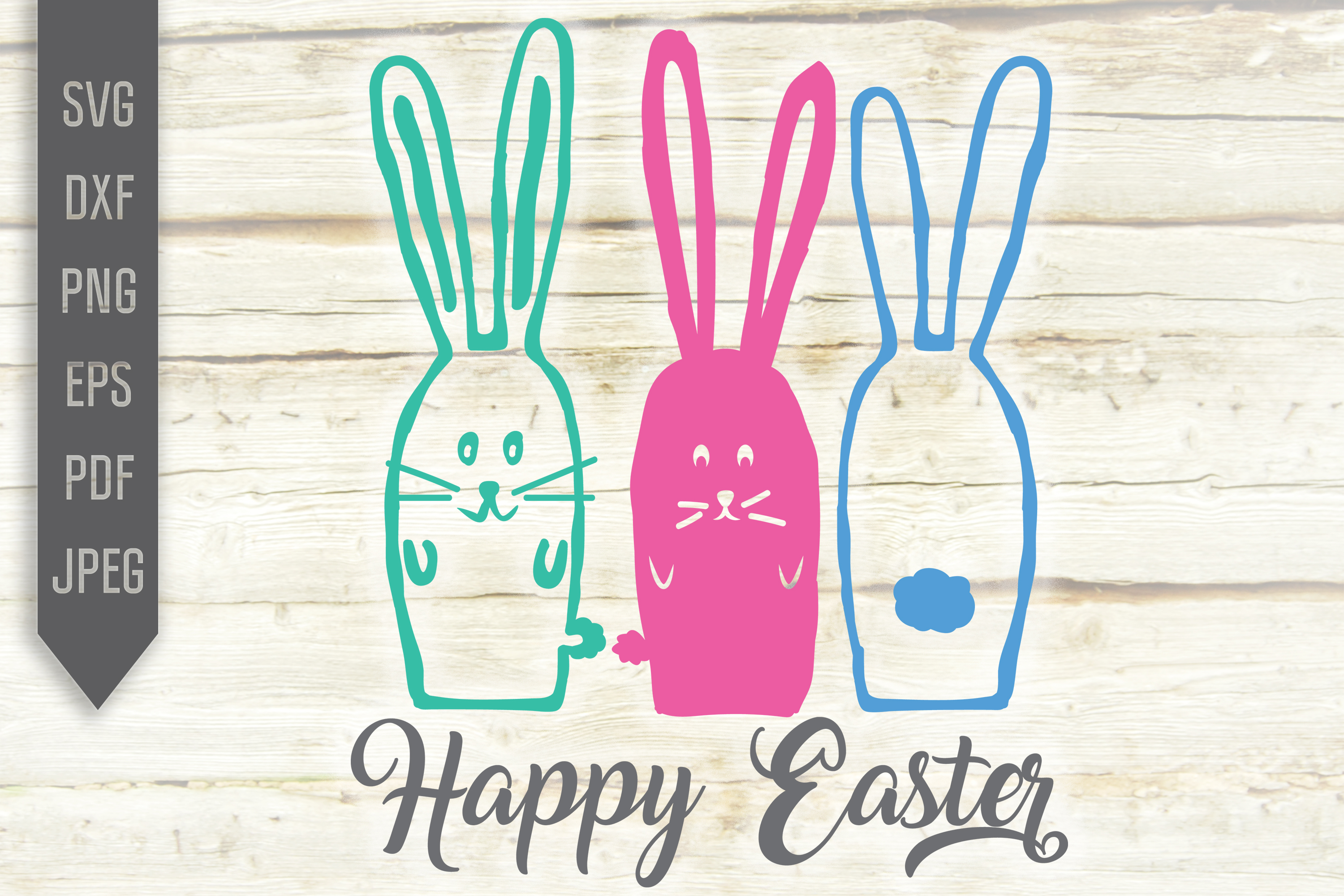 Download Free Three Easter Rabbits Happy Easter Graphic By Svglaboratory for Cricut Explore, Silhouette and other cutting machines.
