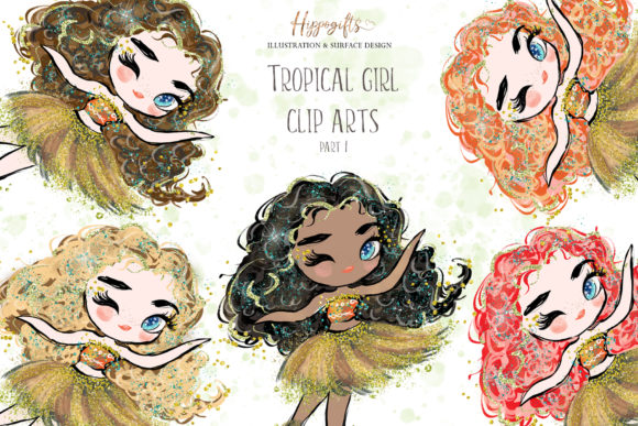 Tropical Girl Graphic Illustrations By Hippogifts