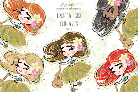 Tropical Girl Clipart,Islander Clipart Graphic Illustrations By Hippogifts - Image 1