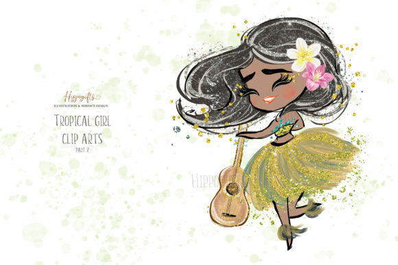 Tropical Girl Clipart,Islander Clipart Graphic Illustrations By Hippogifts - Image 4