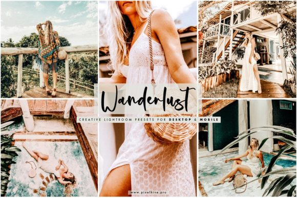 Print on Demand: Wanderlust Desktop and Mobile Preset Graphic Actions & Presets By pixelhivepro