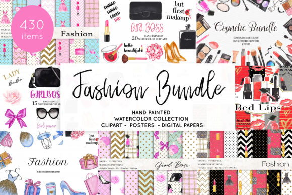 Watercolor Fashion Makeup Bundle Graphic Illustrations By BonaDesigns