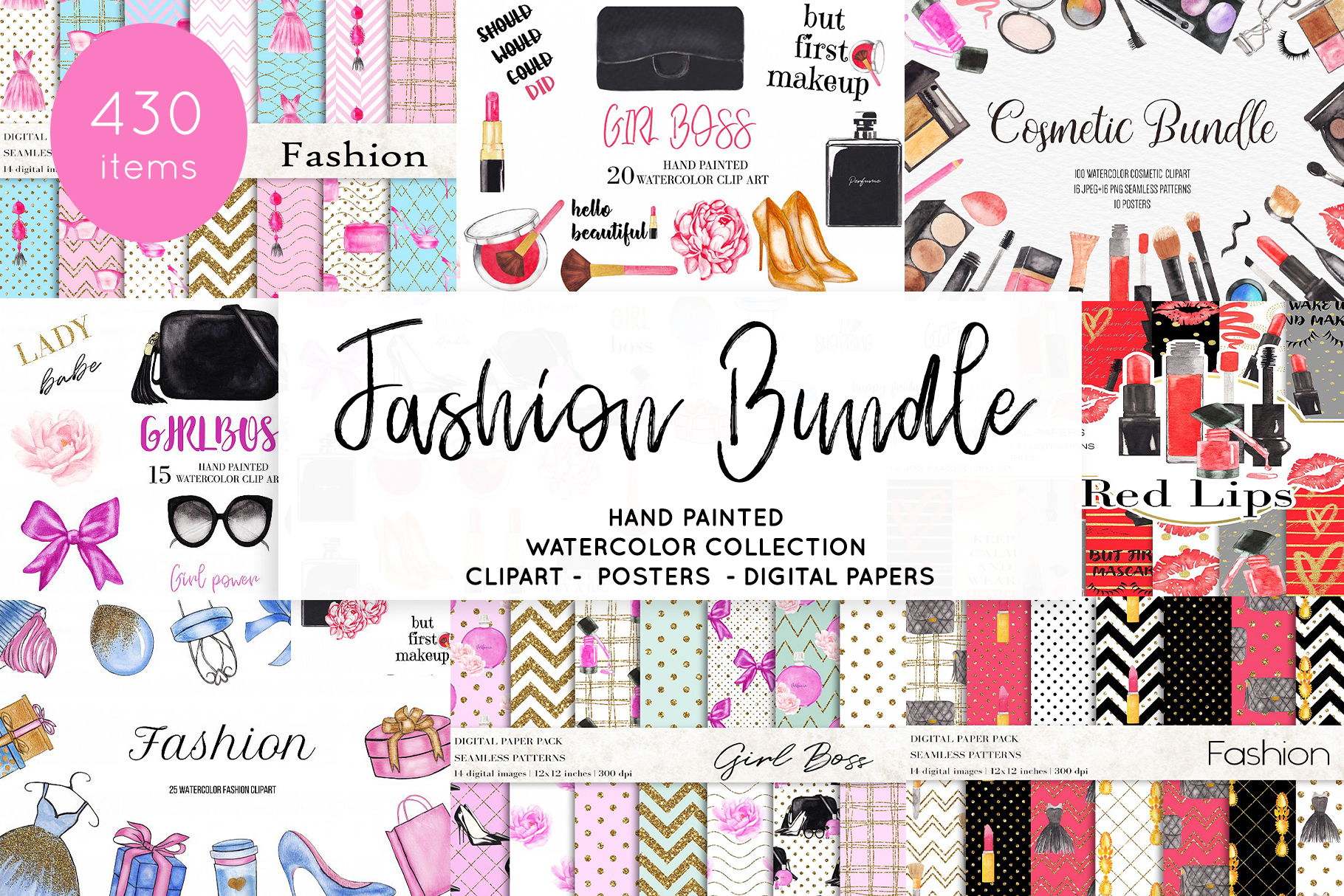 Download Free Watercolor Fashion Makeup Bundle Graphic By Bonadesigns for Cricut Explore, Silhouette and other cutting machines.