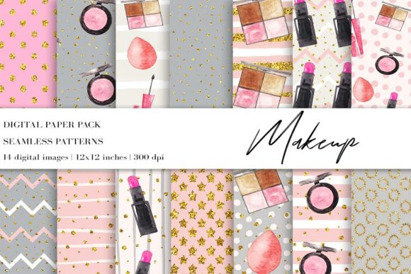 Watercolor Fashion Makeup Bundle Graphic Illustrations By BonaDesigns - Image 10